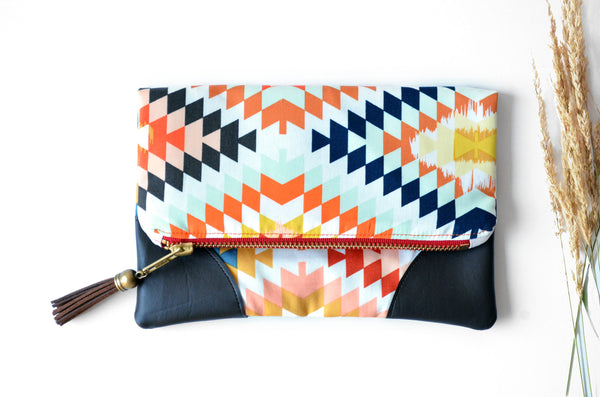 Red Serape Fold Over Clutch