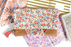 Peach Rosa Fold Over Clutch