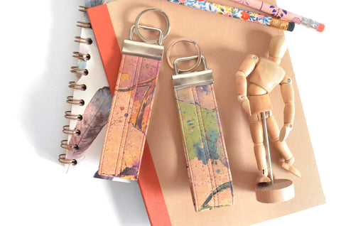 Watercolour Cork Leather Keychain