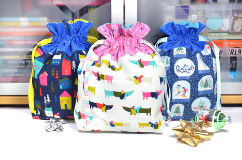 Bright Holiday Fabric Gift Bag