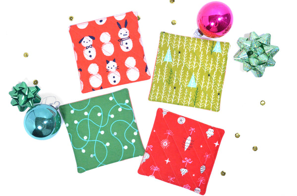 Bright Red & Green Holiday Drink Coasters