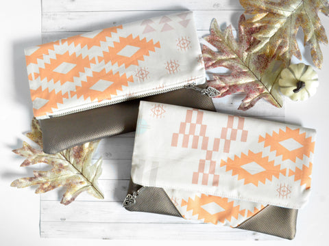 Pastel Navajo Fold Over Clutch