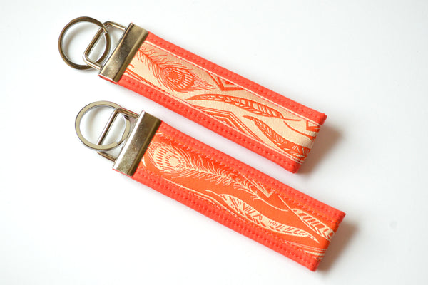 Red Feather Ribbon Keychain