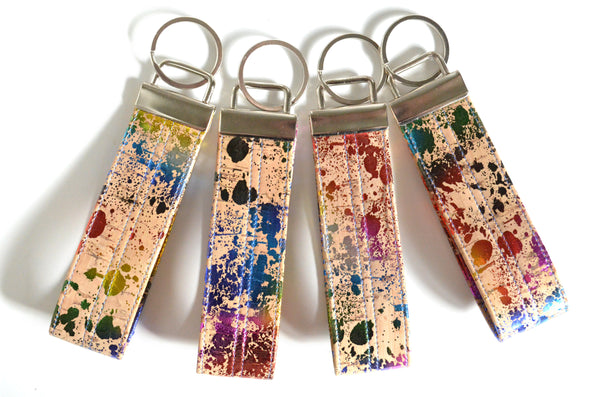 Metallic Rainbow Cork Leather Keychain