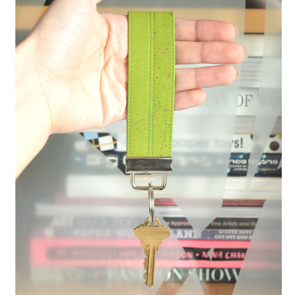 Lime Green Cork Leather Keychain