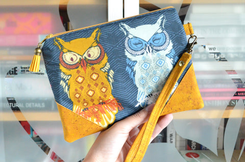 Blue Owl Cork Wristlet Clutch