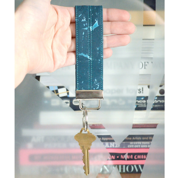 Turquoise Cork Leather Keychain