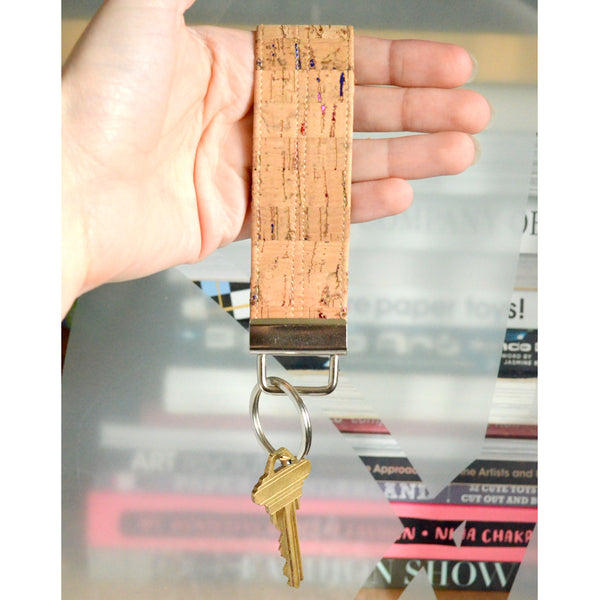 Metallic Rainbow Fleck Cork Leather Keychain