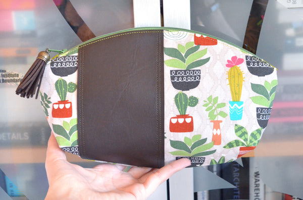 Brown Cacti Curved Pouch