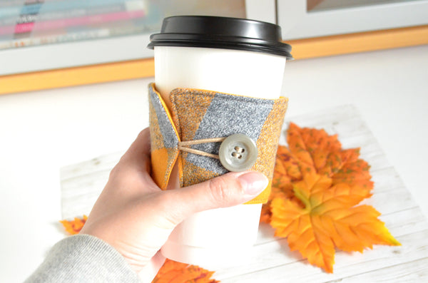 Yellow Flannel Plaid Coffee Sleeve