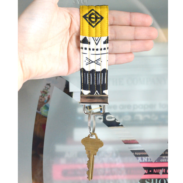 Black & Yellow Boho Patchwork Keychain