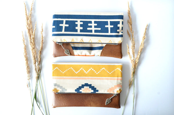 Boho Stripe Fold Over Clutch