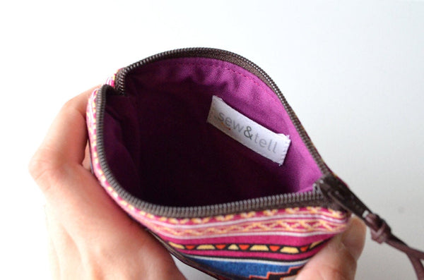 Purple Stripe Leather Coin Purse