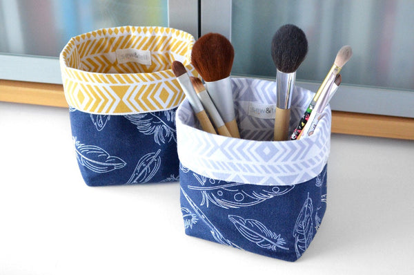Navy Feathers Fabric Plant Pot