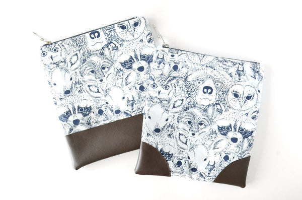 White Woodland Animals Fold Over Clutch