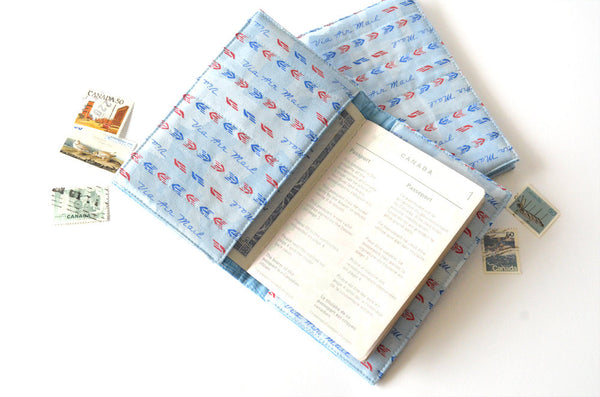Blue Airmail Passport Cover