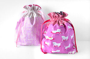 Pink Hopscotch Fabric Gift Bag
