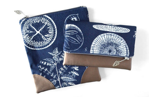 Navy Botanical Fold Over Clutch