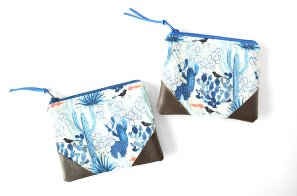 Blue Cactus Coin Purse