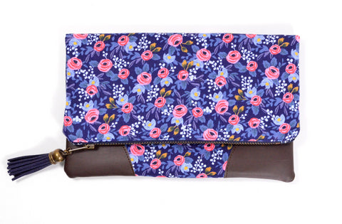Navy Rosa Fold Over Clutch