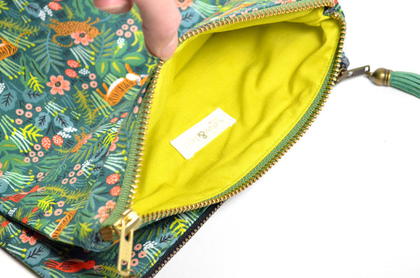 Green Jungle Fold Over Clutch