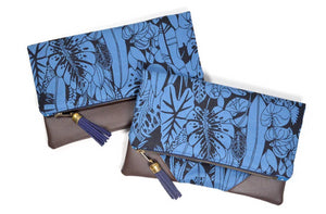 Blue Tropical Fold Over Clutch