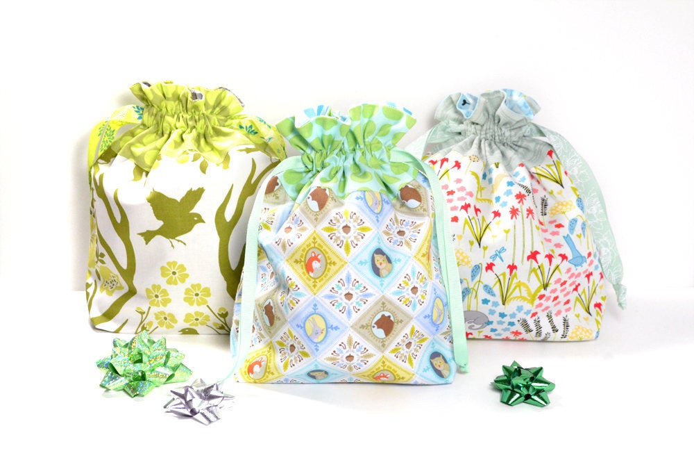 Green Woodland Fabric Gift Bag