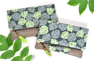 Monstera Leaf Fold Over Clutch