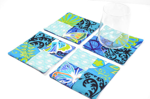 Blue Fabric Drink Coasters