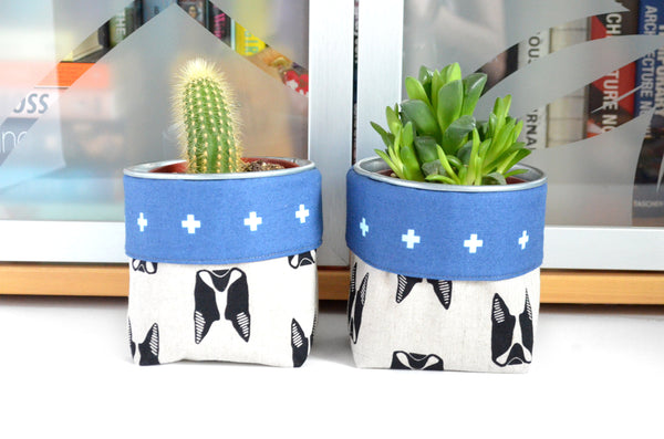Boston Terrier Fabric Plant Pot