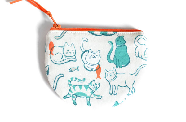 Teal Cat Round Coin Purse