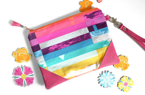 Rainbow Stripe Cork Wristlet Clutch