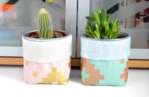 Pink & Blue Mesa Fabric Plant Pot