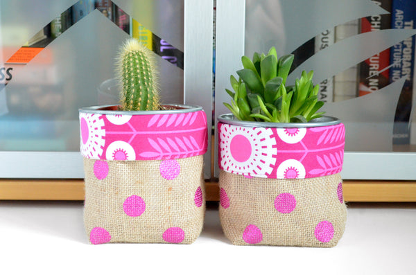 Pink Burlap Fabric Plant Pot
