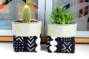 Black Boho Fabric Plant Pot