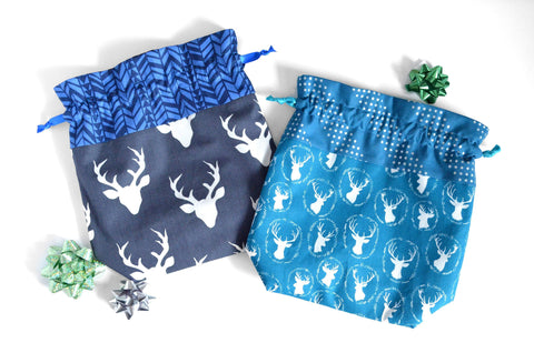 Blue Deer Fabric Gift Bag