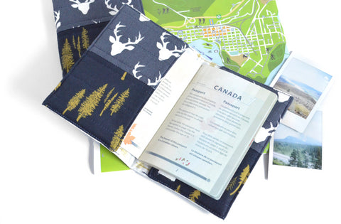 Navy Deer Passport Cover