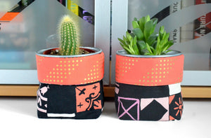 Red Tiles Fabric Plant Pot