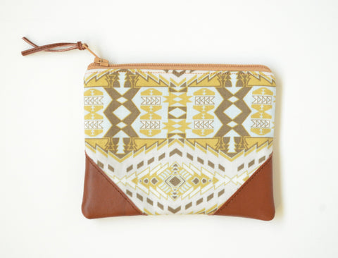 Beige Aztec Coin Purse