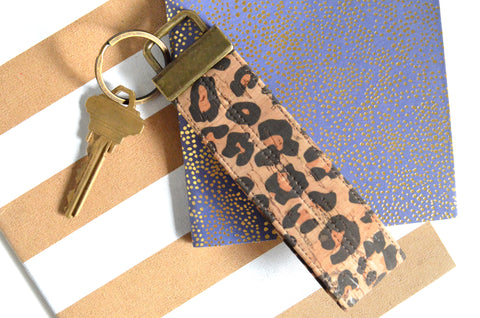Leopard Cork Leather Keychain