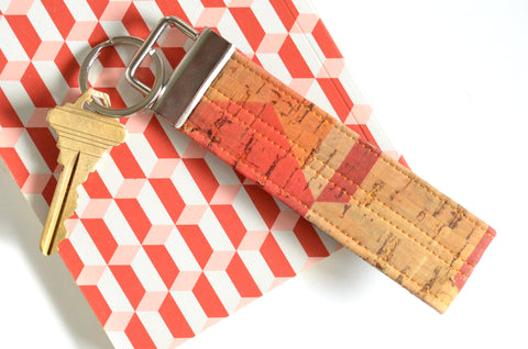 Geometric Cork Leather Keychain