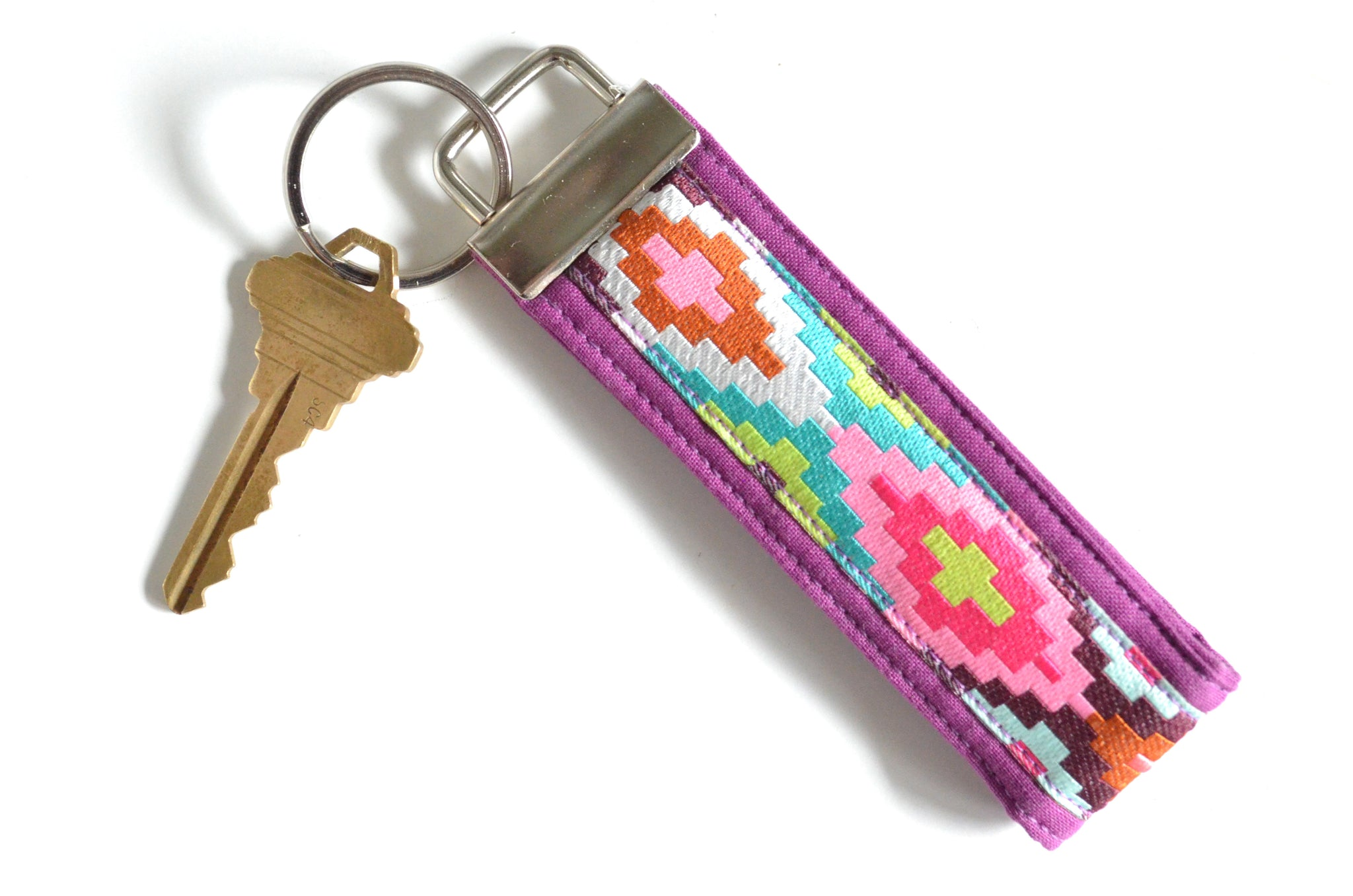 Purple Aztec Ribbon Keychain
