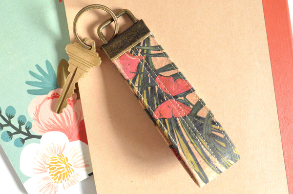 Tropical Butterfly Cork Leather Keychain