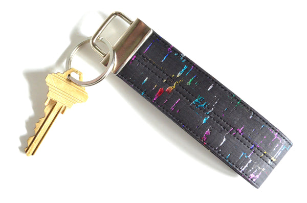 Black Metallic Rainbow Cork Leather Keychain