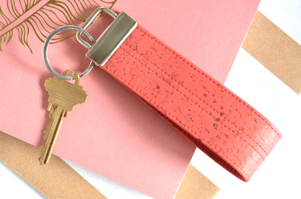 Coral Cork Leather Keychain