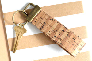 Natural Striped Cork Leather Keychain