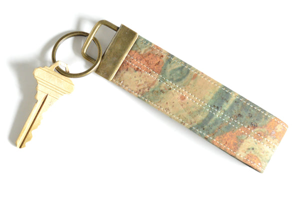 Marble Cork Leather Keychain