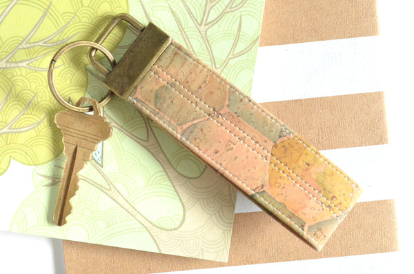 Hexagon & Stripe Cork Leather Keychain