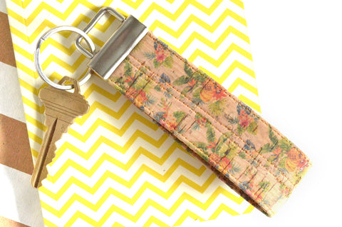 Tiny Tropical Cork Leather Keychain