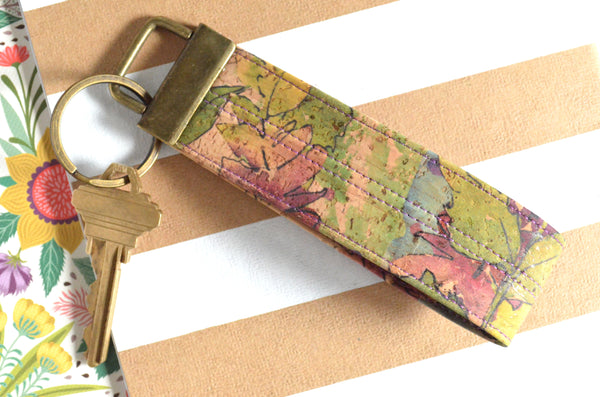 Purple Floral Cork Leather Keychain